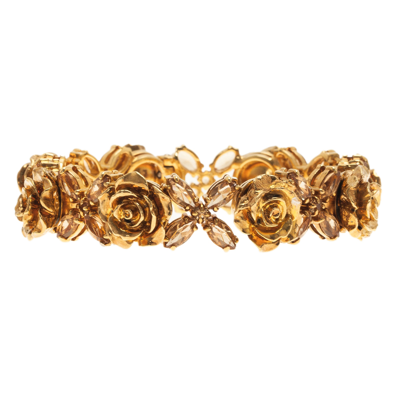 Prada Rose Gold Tone Crystal Resin Bracelet