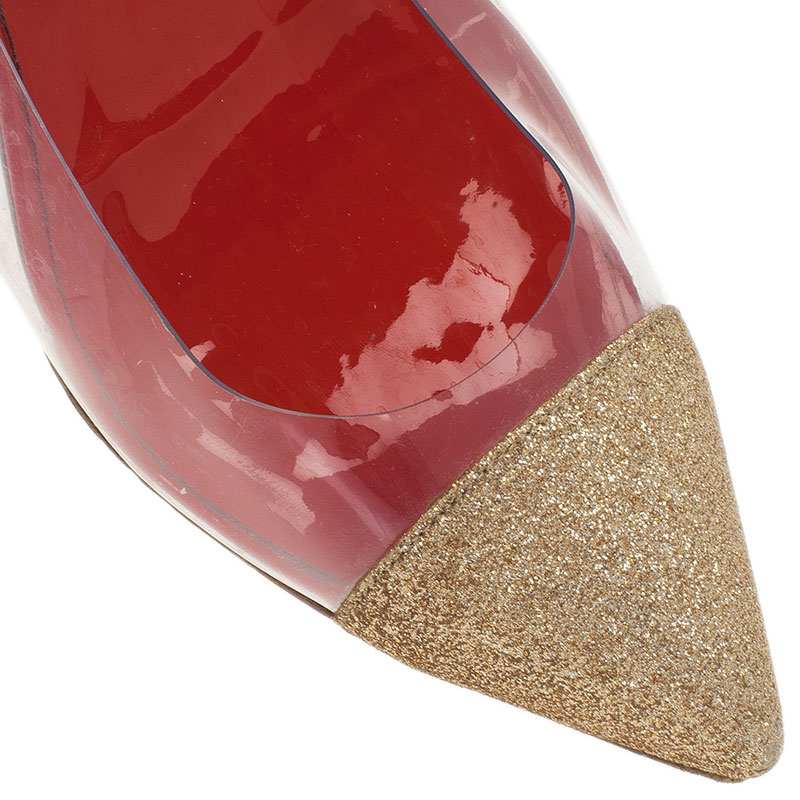 Christian Louboutin Gold Glitter and PVC Corbeau Pointed Toe Flats Size 39.5