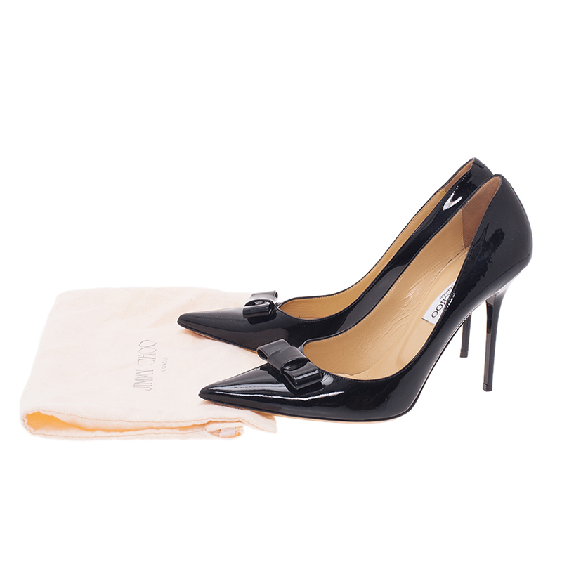 Jimmy Choo Black Patent Marie Bow Detail Pumps Size 40.5