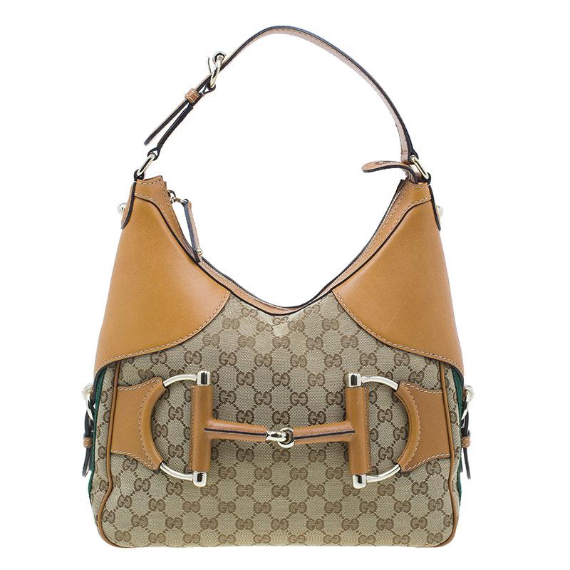 Gucci Brown Leather Canvas Medium Web Horsebit Heritage Hobo