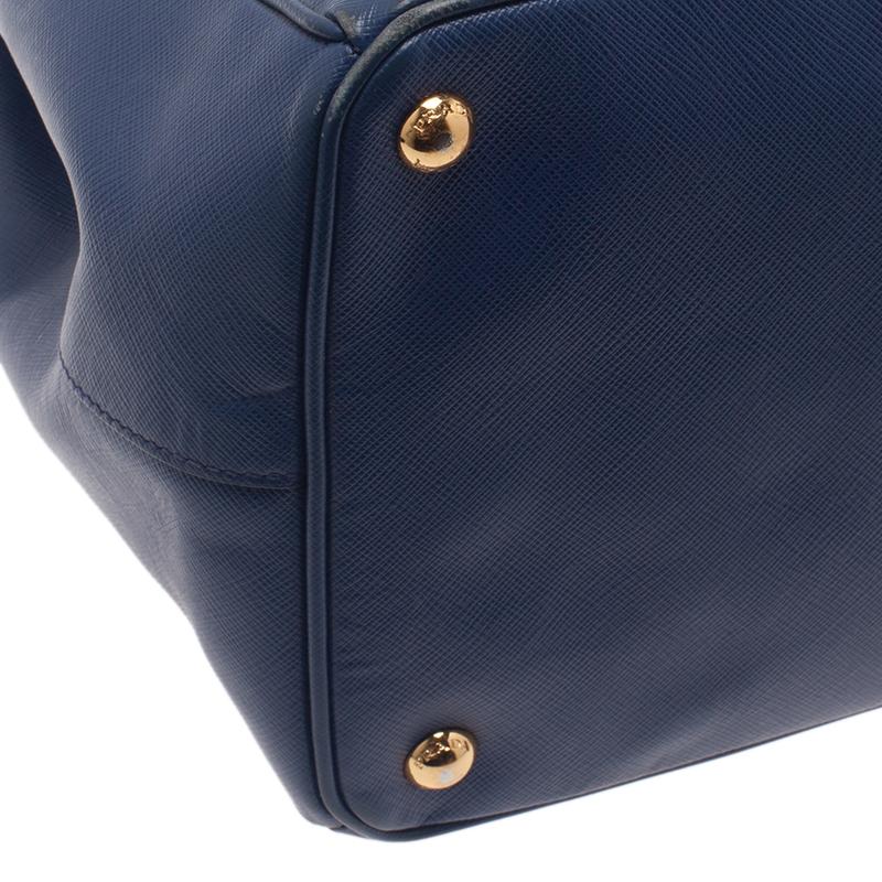 Prada Blue Saffiano Leather Medium Lux Tote Bag
