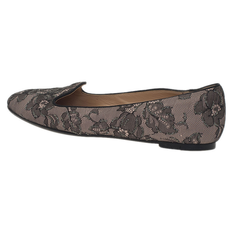 Valentino Grey Lace Smoking Slippers Size 39.5
