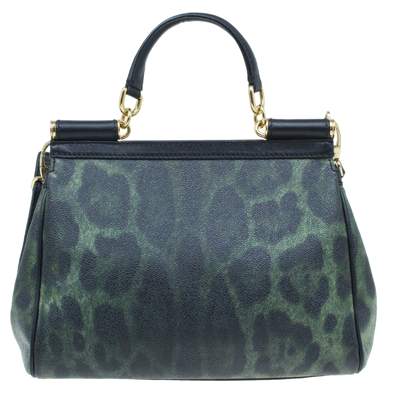 Dolce and Gabbana Green Leopard Print Leather Medium Miss Sicily Tote Bag