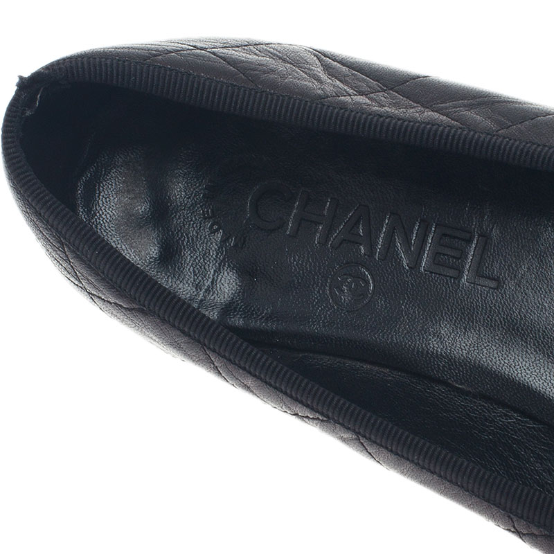 Chanel Black Leather CC Cambon Ballet Flats Size 37