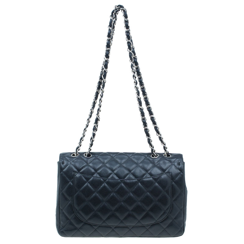 Chanel Black Quilted Caviar Leather Jumbo Classic Flap Bag