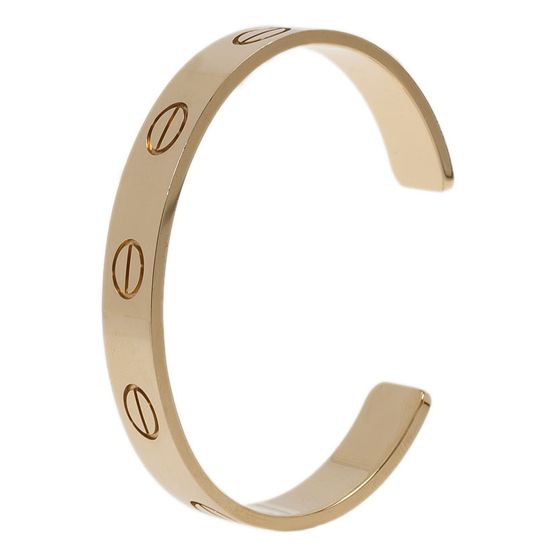 Cartier XL Love U Limited Edition Yellow Gold Open Cuff Bracelet Size 16