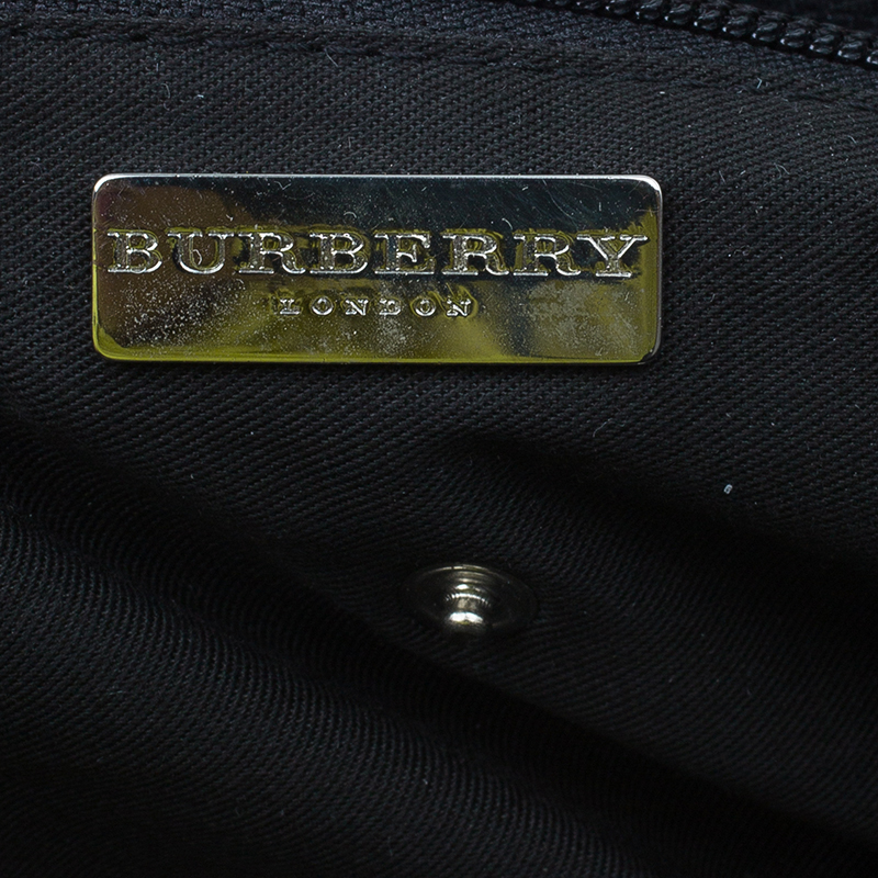 Burberry Wool and Calf Leather Check Shopper Tote Bag