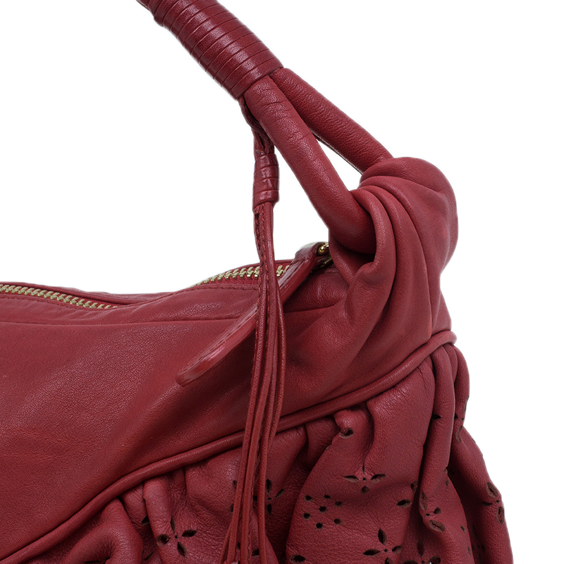 Dior Red Leather Large Gypsy Ruffle Hobo Bag