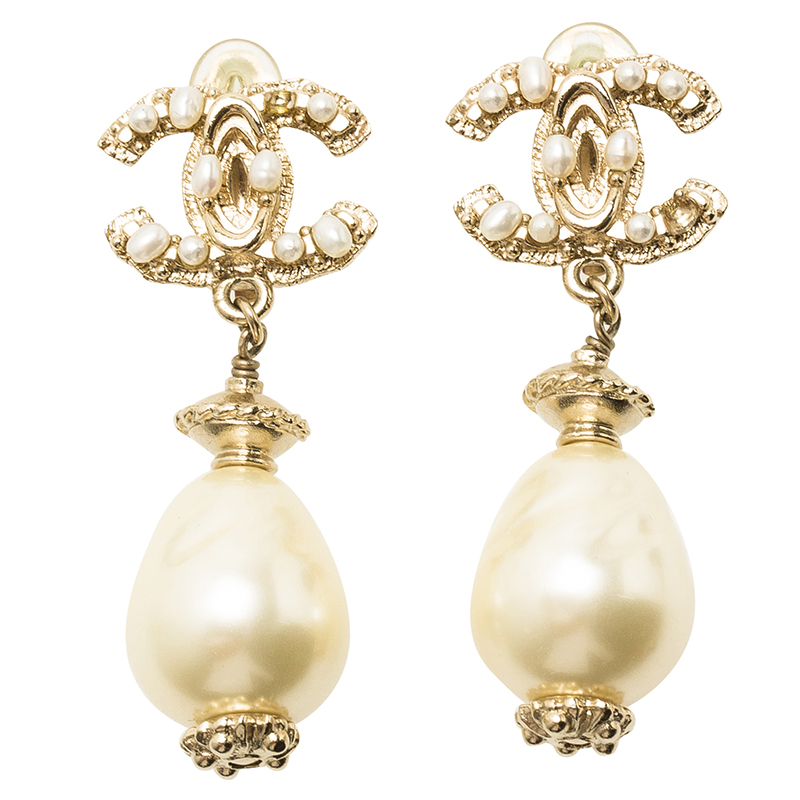 lc buy sell chanel cc pearl drop gold tone earrings