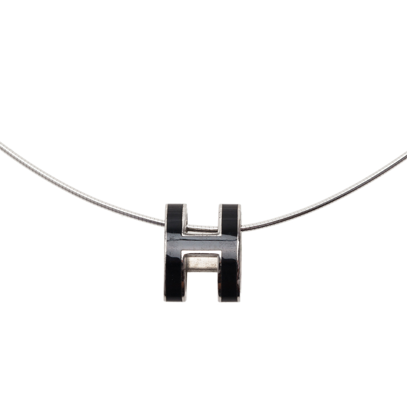 Hermes Black Lacquered Pop H Pendant Necklace