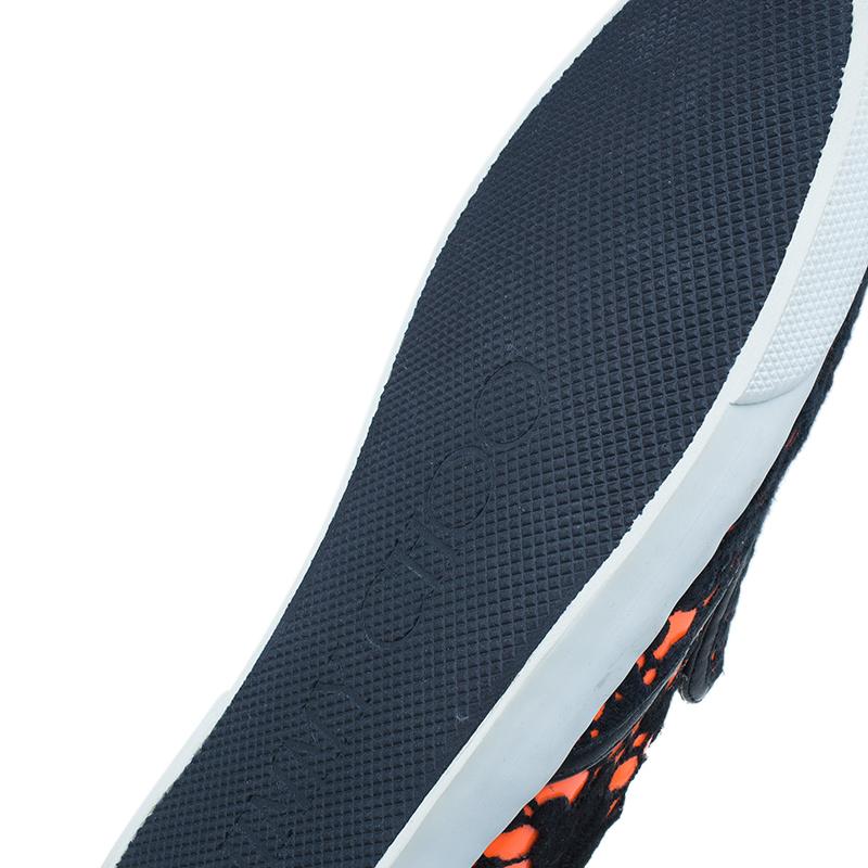 Jimmy Choo Black and Orange Demi Lace Slippers Size 41