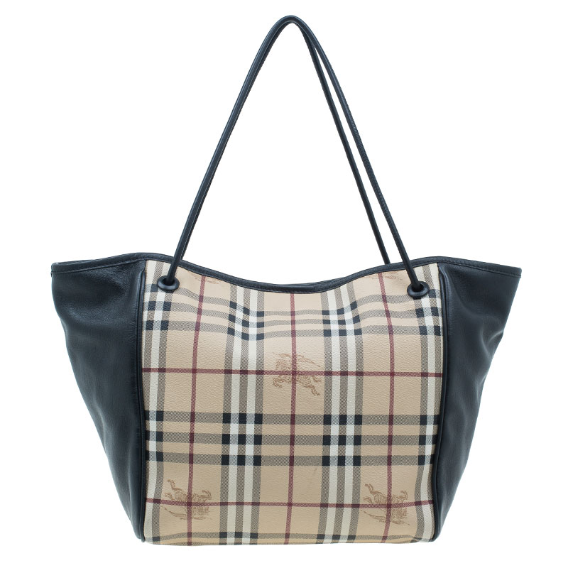 Burberry Black Leather Haymarket Check Coated Small Knots Canterbury Tote Bag