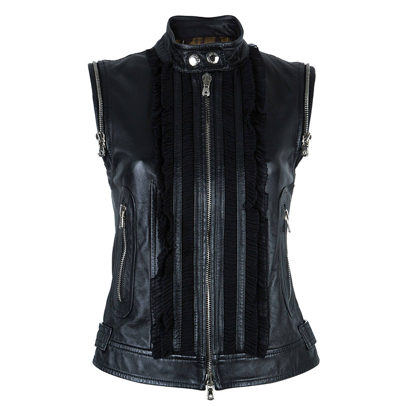 Dolce and Gabbana Black Sleeveless Leather Jacket S