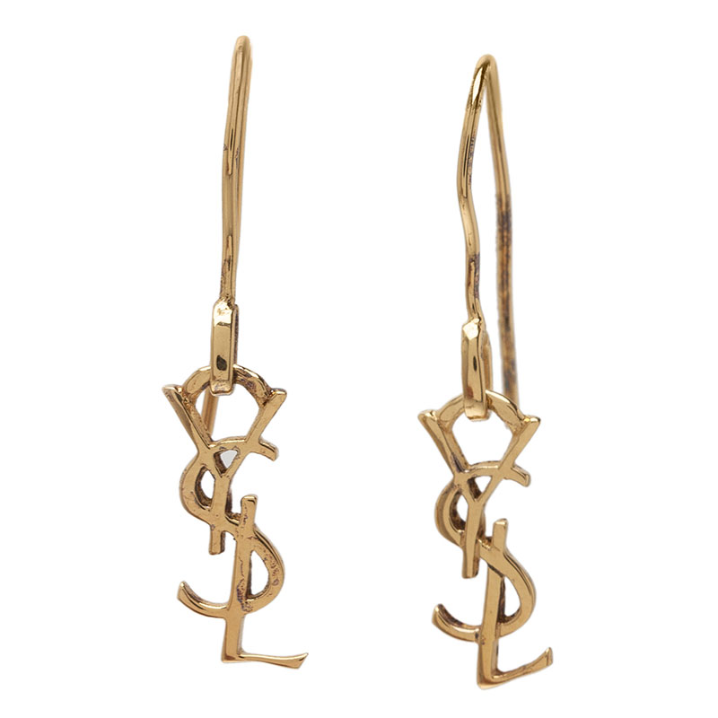 Saint Laurent Paris Signature Monogram Gold Vermeil Hook Earrings