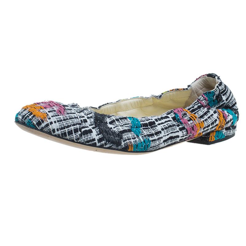 Chanel Multicolor Tweed Ballet Flats Size 38.5