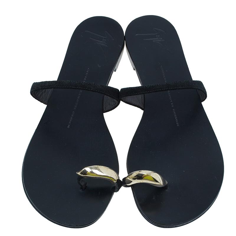 Giuseppe Zanotti Black Leather Toe Ring Sandals Size 37