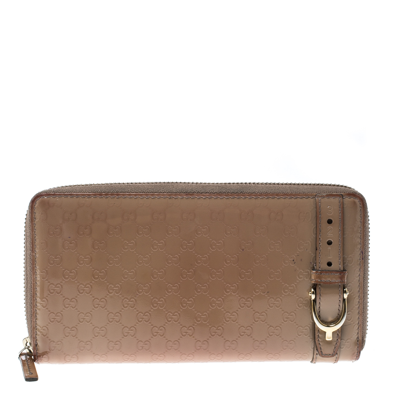 Купить со скидкой Gucci Beige Micro Guccissima Patent Leather Zip Around Wallet