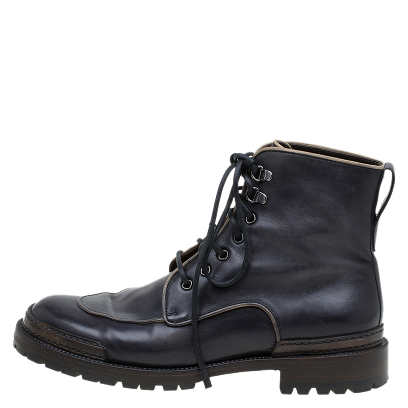 Berluti Black Leather Combat Boots Size 43 - Buy & Sell - LC