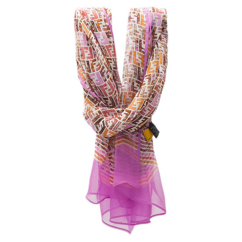 Fendi Pink Zucca Silk Stole