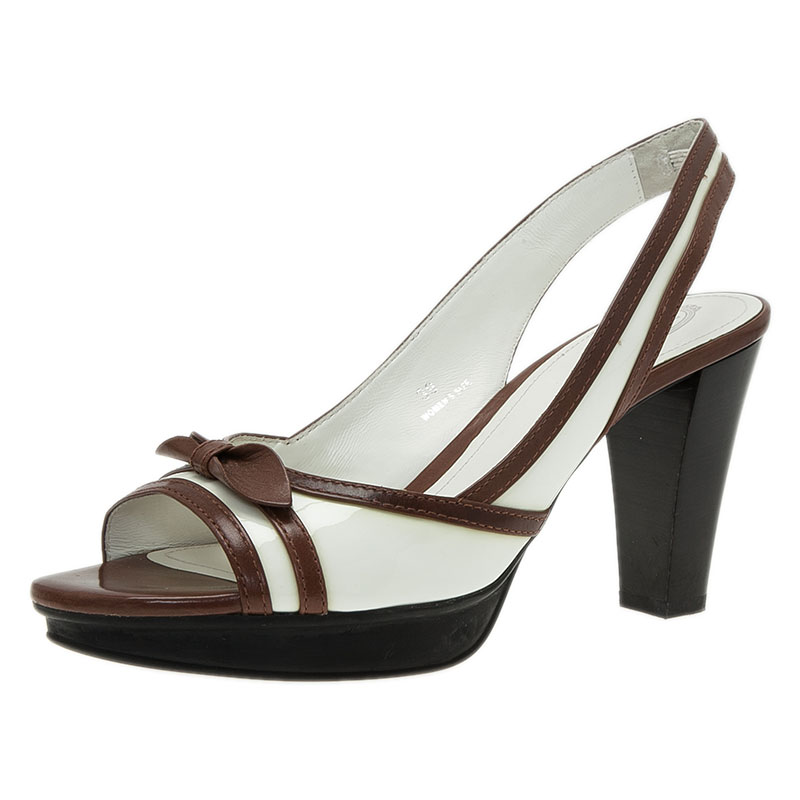 Tod's White and Brown Patent Leather Slingback Sandals SIze 39