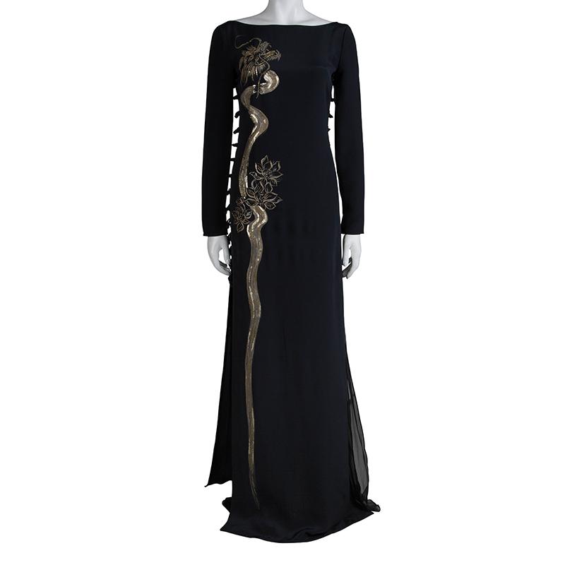 Emilio Pucci Black Silk Beaded Long Sleeve Maxi Dress
