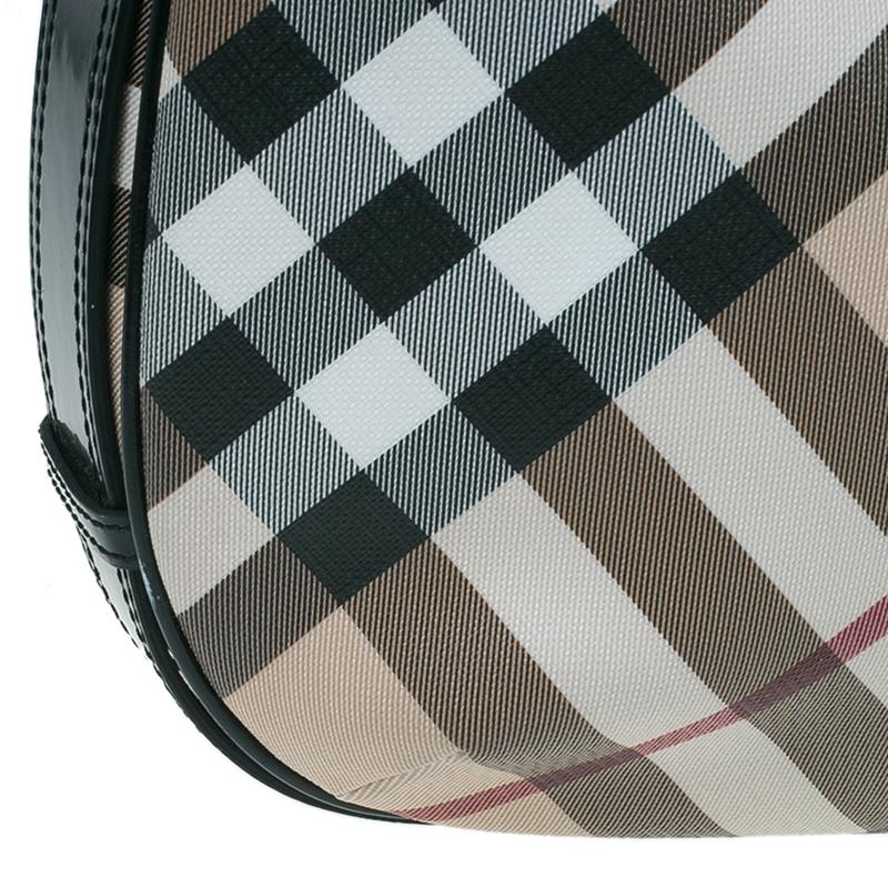 Burberry Black/Beige Nova Check Coated Canvas Barton Hobo Bag