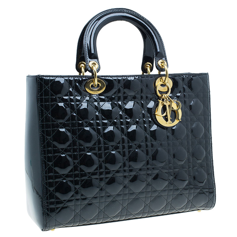 Dior Black Cannage Quilted Patent Leather Large Lady Dior Tote