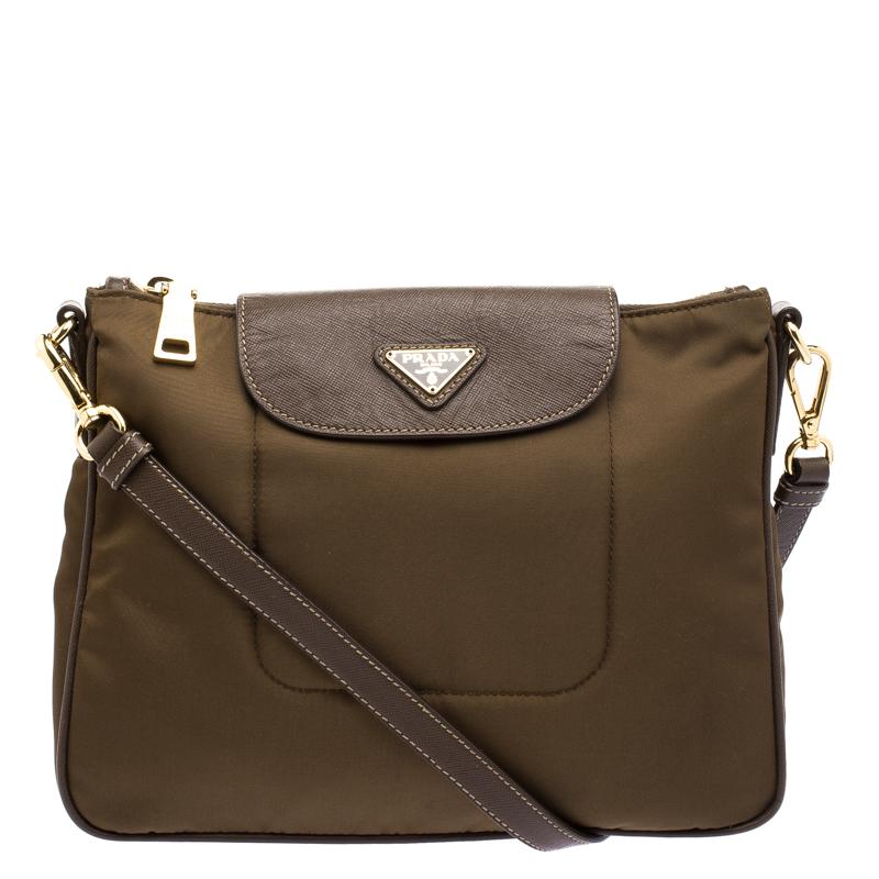 Buy Prada Brown Tessuto Saffiano Crossbody Bag 103407 at best price ... e29236d49dbf9