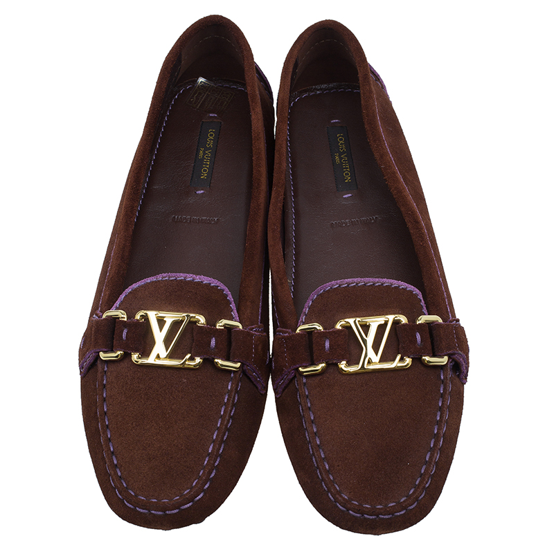 Louis Vuitton Two Tone Suede Oxford Loafers Size 39.5