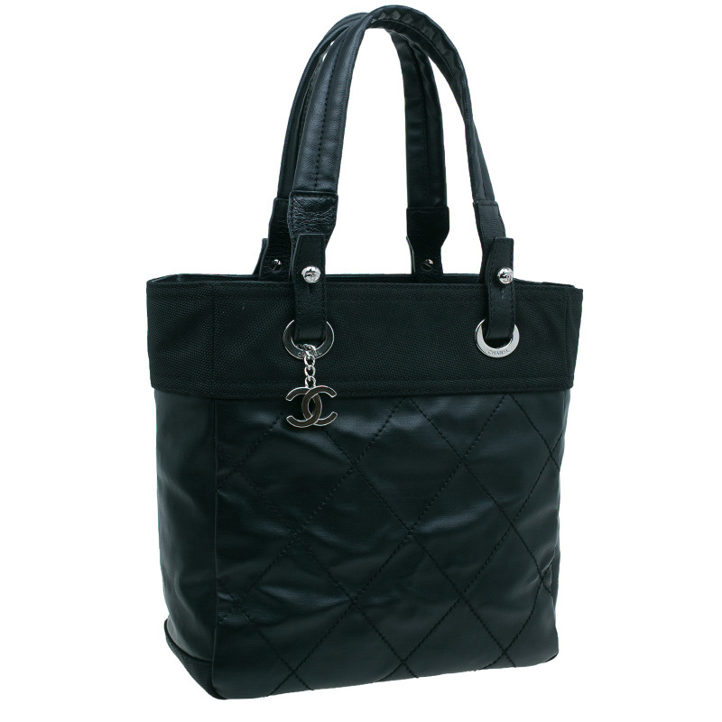 Chanel Black Quilted Coated Canvas Petite Paris Biarritz Shopping Tote Bag