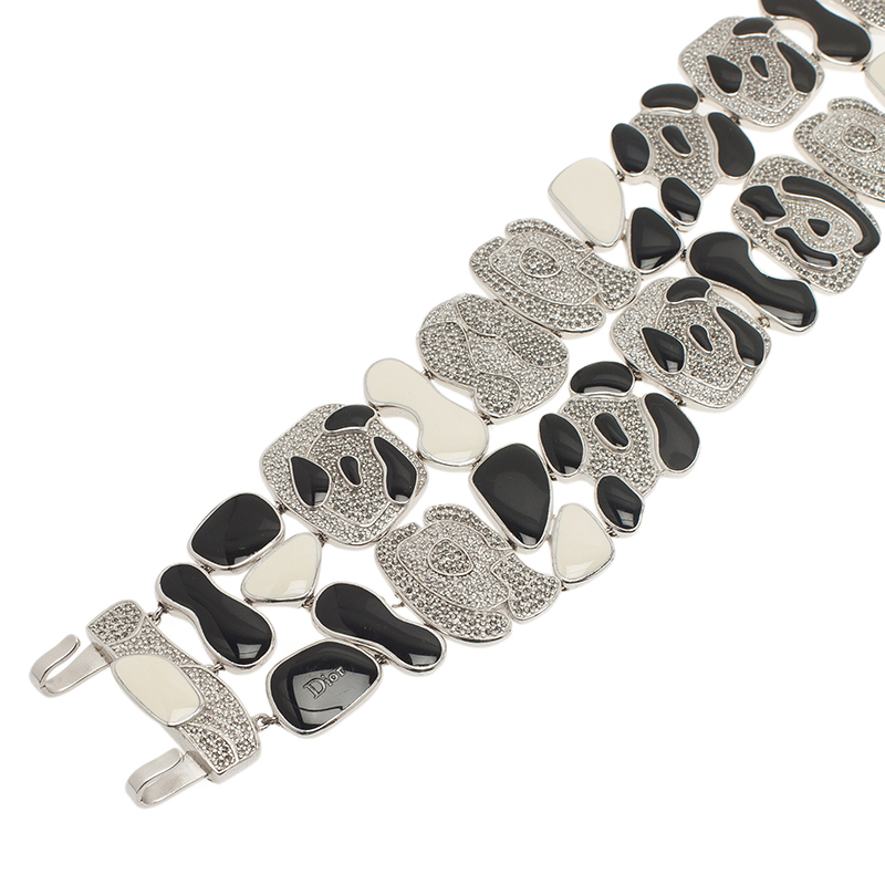 Dior Animalia Crystal Black And White Enamel Silver Tone Necklace