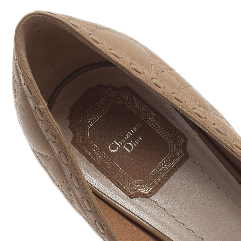 Dior Beige Cannage Leather Peep Toe Bow Pumps Size 40