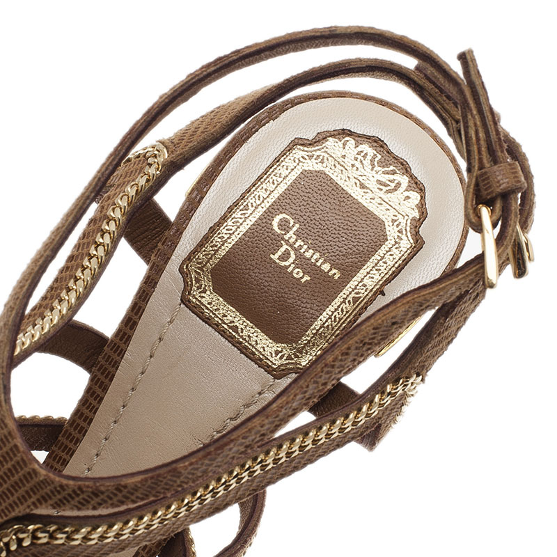 Dior Beige Lizard Embossed Chain Strappy Sandals Size 39