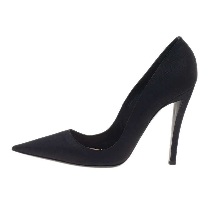 Dior Black Canvas Pointed Toe Pumps Size 41