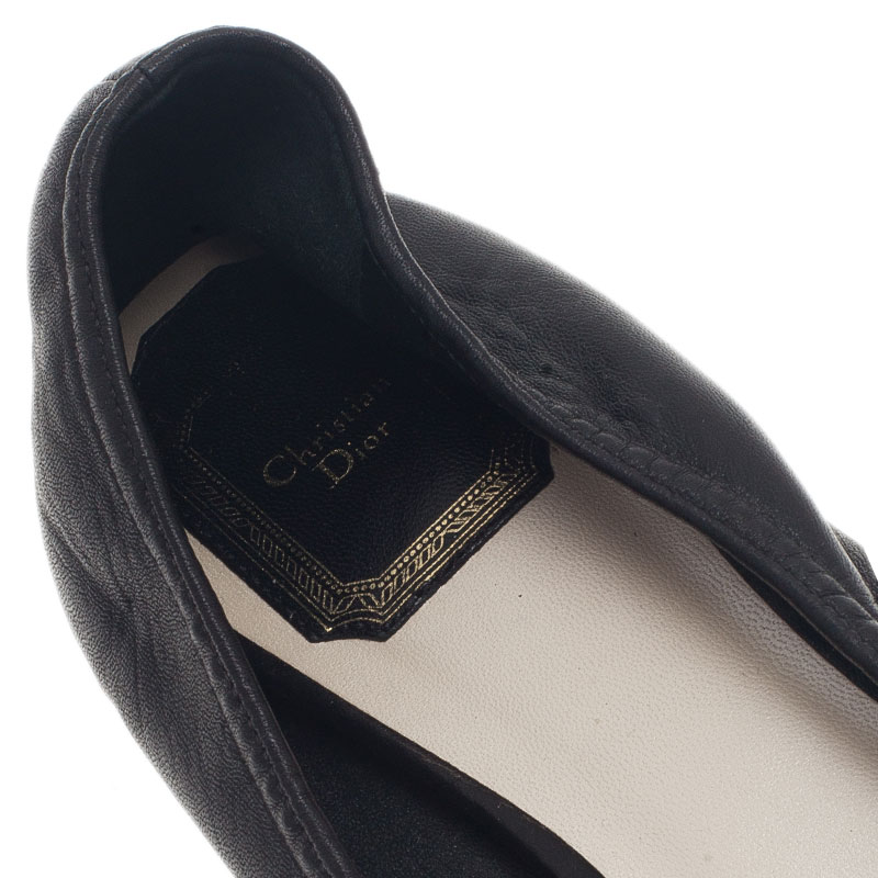 Dior Black Leather 'CD' Logo Ballet Flats Size 38.5