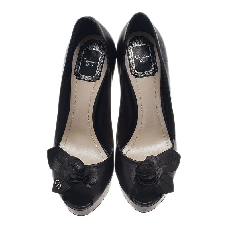 Dior Black Leather Rose Detail Peep Toe Pumps Size 38