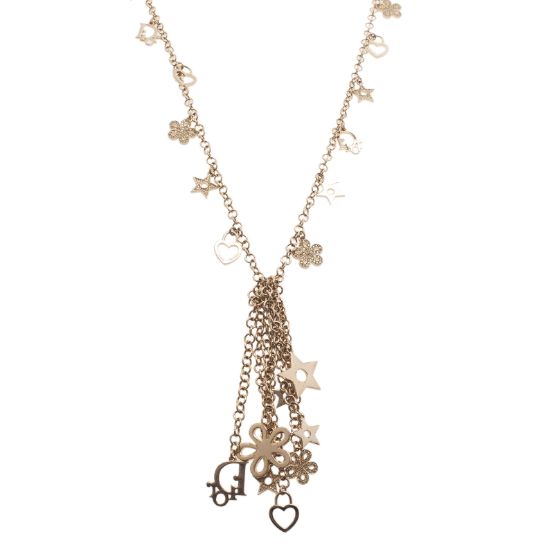 Dior Charm Gold Tone Necklace