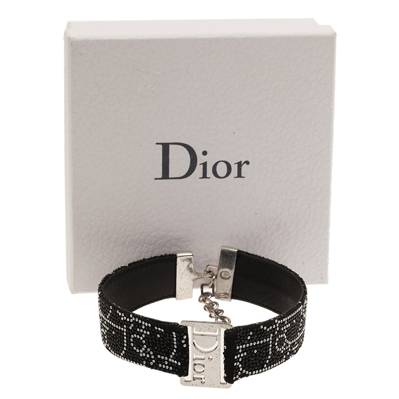 Dior Crystal Black Leather Choker Necklace