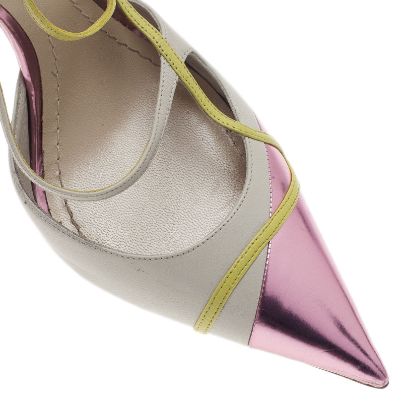 Dior Tricolor Metallic Pointed Toe Slingback Sandals Size 40