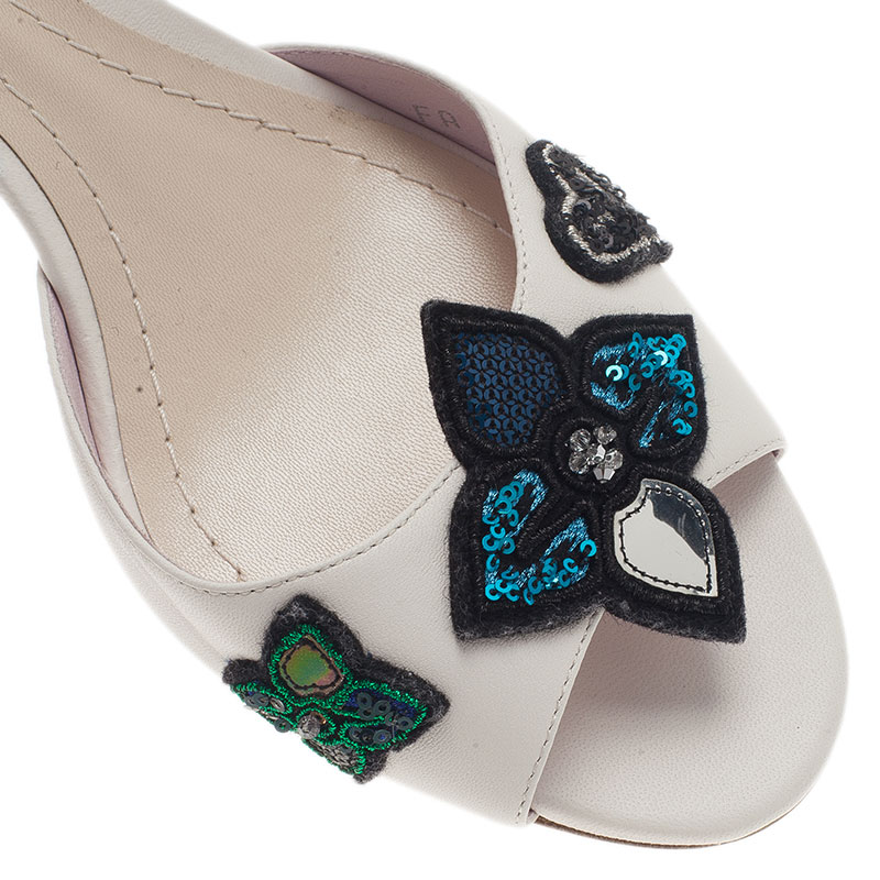 Dior White Leather Sequin Flower Slides Size 40
