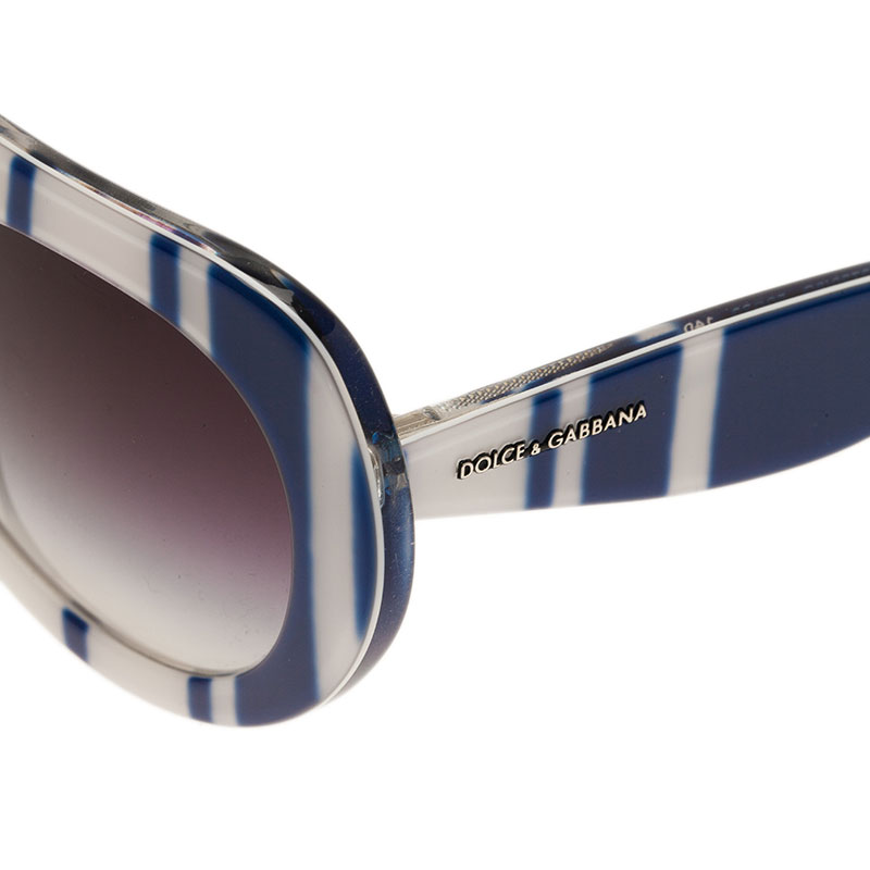 Dolce and Gabbana Blue and White DG4191 Striped Sunglasses