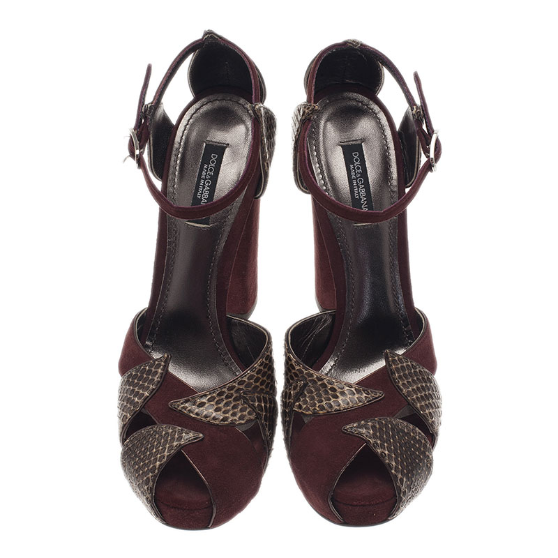 Dolce and Gabbana Burgundy Suede and Gold Leather Sandals Size 37.5