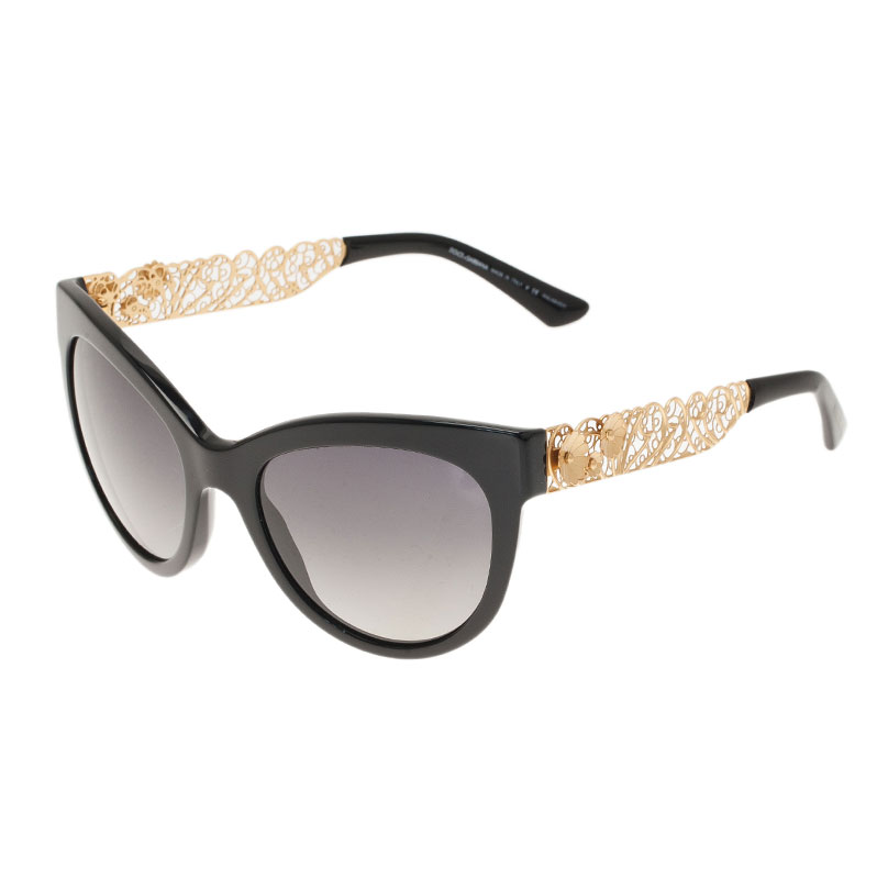 Dolce and Gabbana Black Filigree Cat Eye Sunglasses