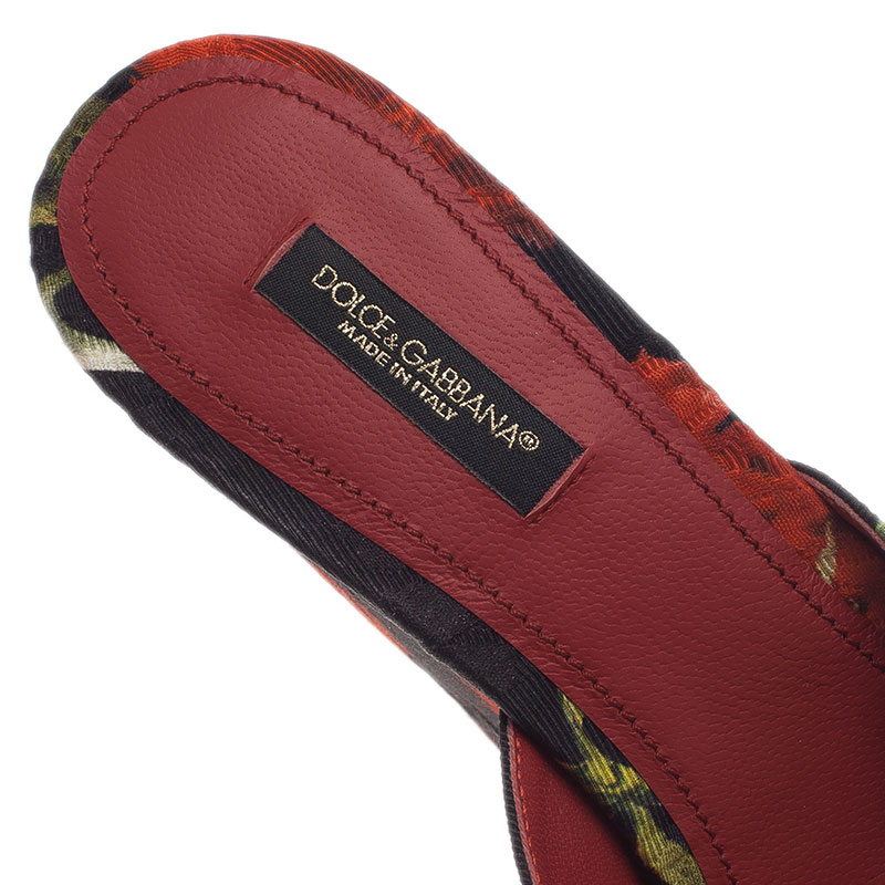 Dolce and Gabbana Rose Embroidered Brocade Wedge Slides