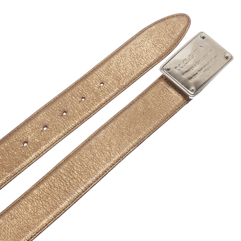 Dolce and Gabbana Gold Metallic Leather Logo Plaque Skinny Belt 85CM