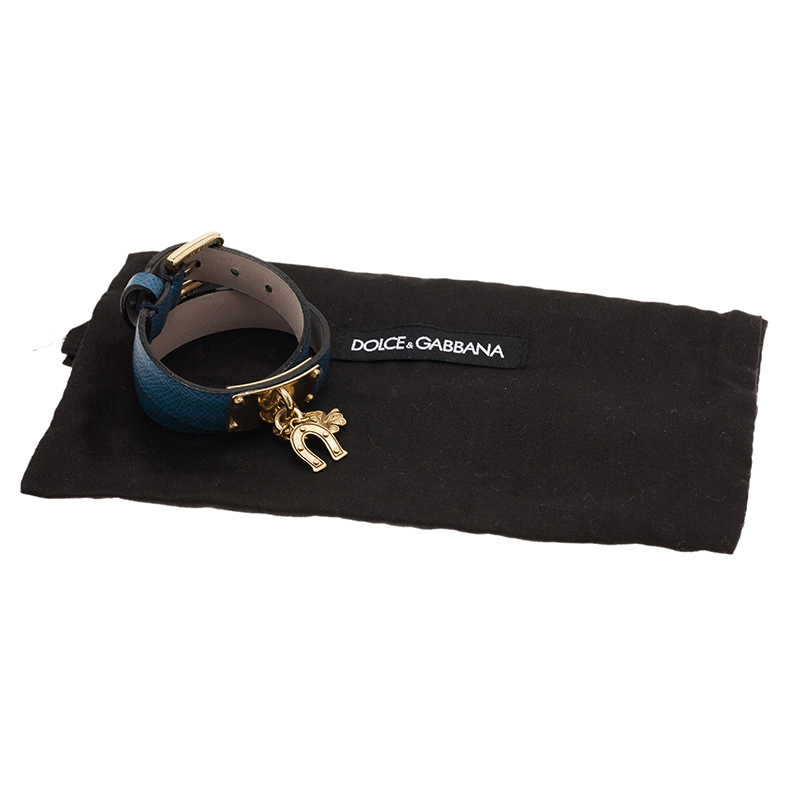 Dolce and Gabbana Good Luck Charms Blue Leather Bracelet S