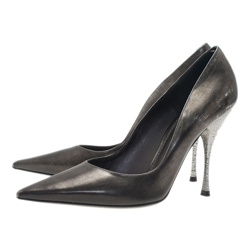 Dolce and Gabbana Metallic Grey Leather Pointed Toe Pumps Size 37.5