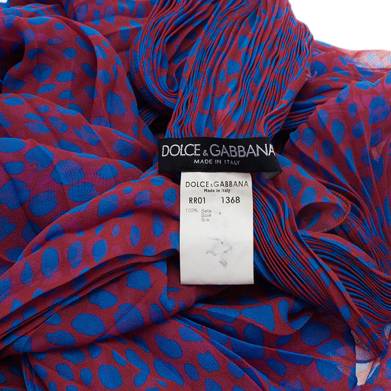 Dolce and Gabbana Pink and Blue Polka Dot Stole