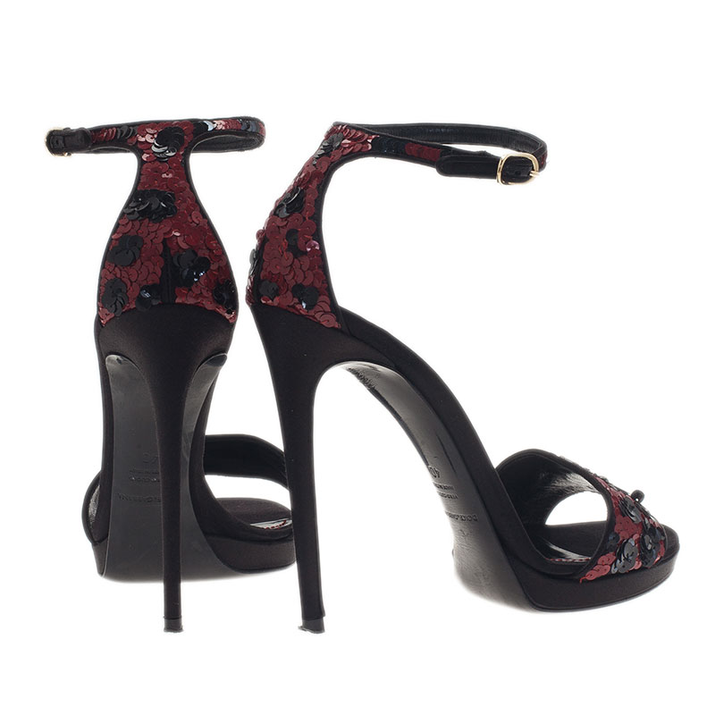 Dolce and Gabbana Red and Black Sequins Ankle Strap Sandals Size 40