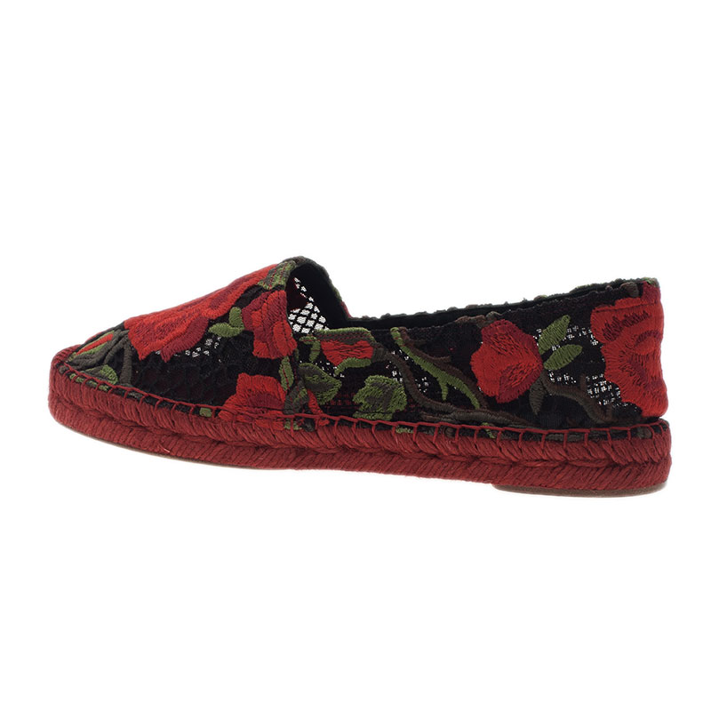 Dolce and Gabbana Rose Embroidered Macrame Espadrilles Size 37